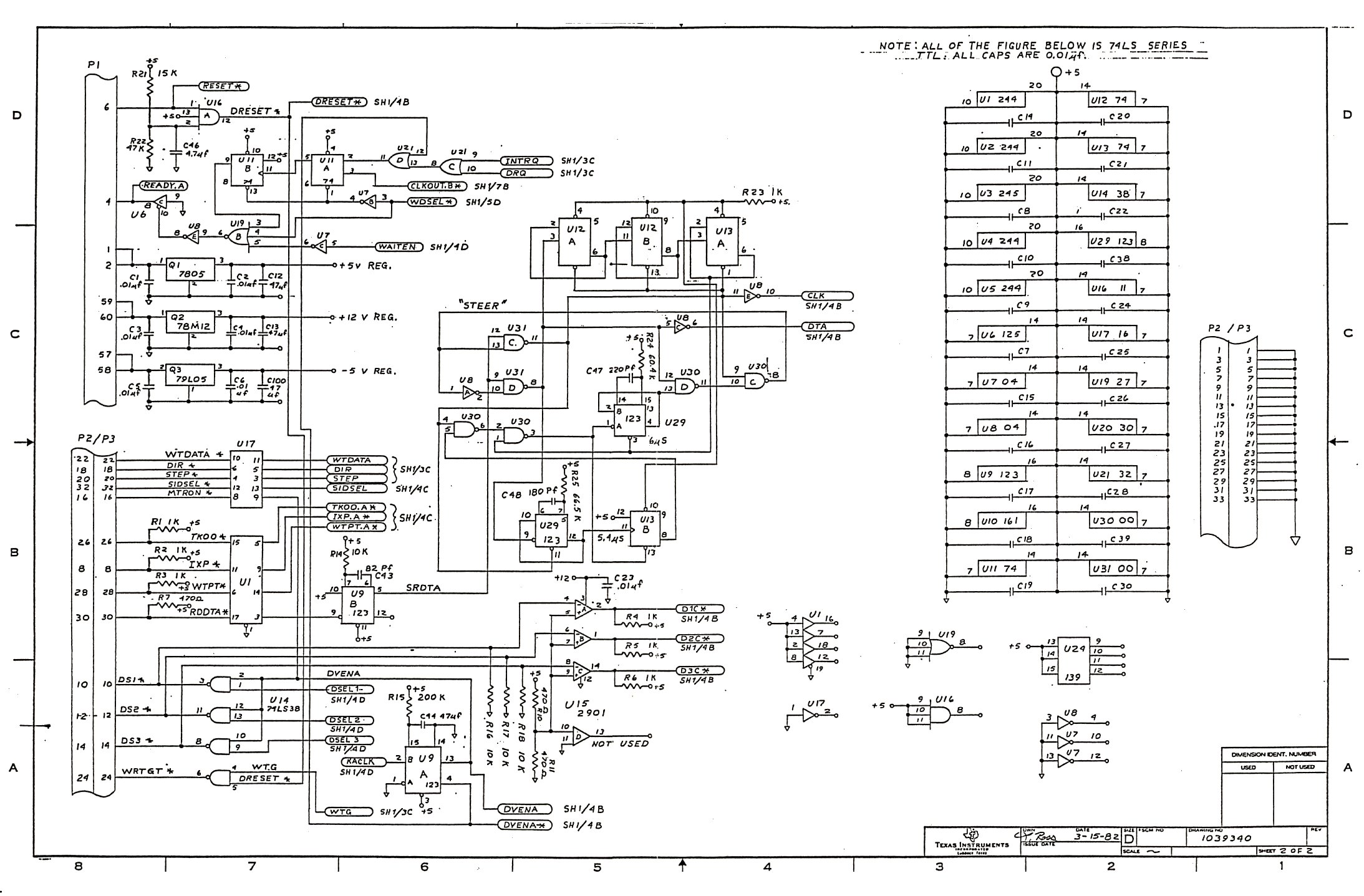 Ti99 Ti 99 4a Hardware Texas Instruments Rs232 Schematic Php1700 Rs 232 Sidecar Interface Page 1 Php1220 Card 2