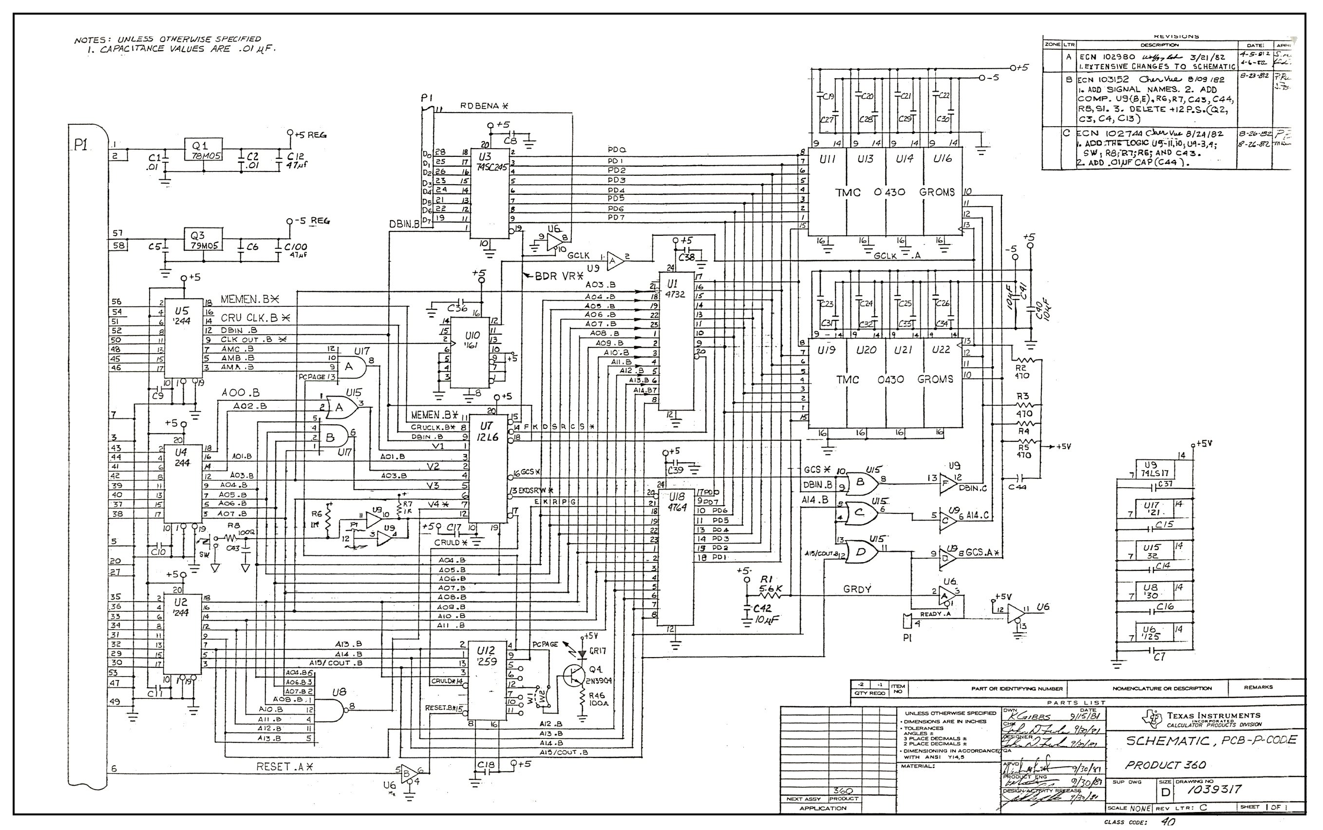 Ti99 Ti 99 4a Hardware Texas Instruments Rs232 Schematic Php1270 P Code Card Page 1